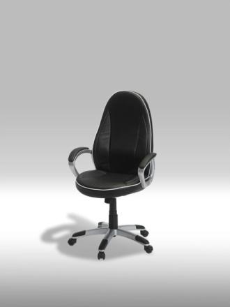 Still kontorstol i svart PU kunstskinn med hvite stikninger.