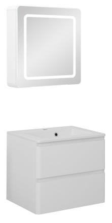 Badeværelse Maja small opstilling hvor vask og spejlskab er 60 cm. Hvid højglans lak. Leveres færdig samlet.