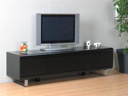 Spacy TV skjenk med 2 skuffer og 1 klaff i svart høyglans.