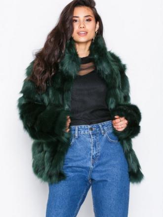 NLY Trend Fluffy Fur Jacket Faux Fur Grön