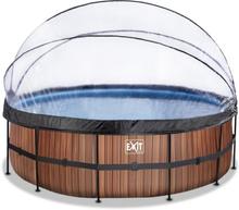 EXIT Stone pool ø450x122cm med filterpumpe - brun m/dome