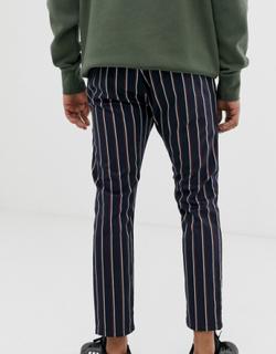 Topman smart trousers in navy & red stripe