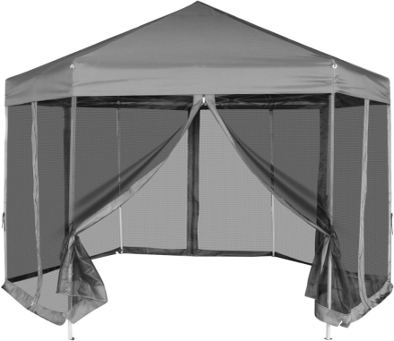 vidaXL Pop-Up Partytält med 6 sidoväggar sexkantigt 3,6x3,1 m grå