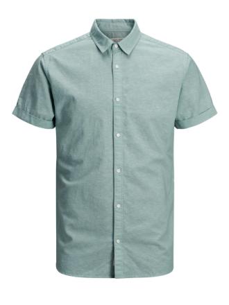 JACK & JONES Cotton-linen Short Sleeved Shirt Men Green