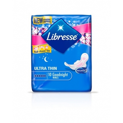 Libresse Goodnight Ultra Thin with Wings 10 stk