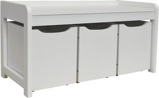 Newton - hallen / sko / leksak / sovrum lagring bänk med 3 lådor - vit