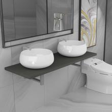vidaXL Badrumsmöbler 3 delar keramik grå