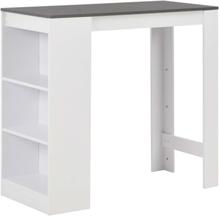 vidaXL Baaripöytä hyllyllä valkoinen 110x50x103 cm