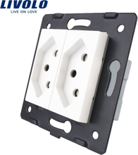 Livolo Socket DIY Parts White Plastic Materials EU standard two gangs Switzerland Function Key, VL-C7-C2CH-11