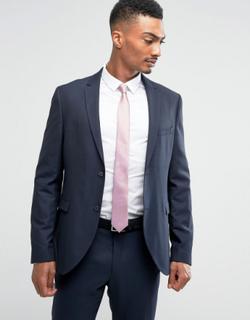 Jack & Jones Premium Slim Suit Jacket in Texture-Navy