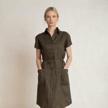 Wood Linen Dress Dark Pine