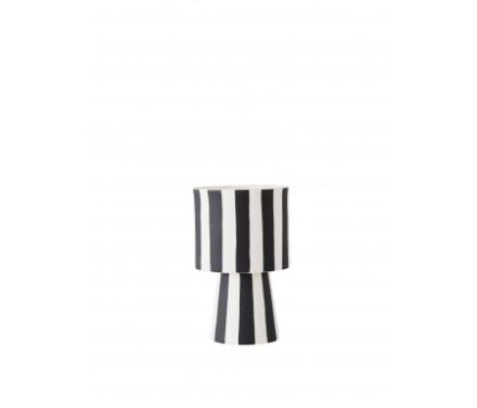 OYOY Toppu Pot - Vase/Urtepotteskjuler - Sort/hvid stribet - 15 cm.