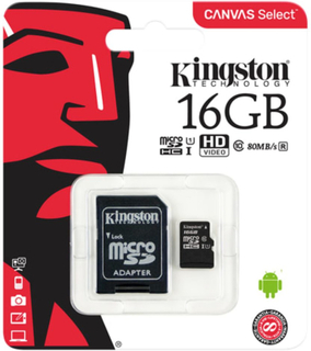 Kingston Canvas Select microSDHC-kort, 16GB, Klass 10 UHS-I