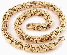 Guld kejsarlänk halsband i rostfritt stål med 18k guldplätering