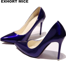 2020 New Fashion high heels women pumps thin heel classic white red nede beige sexy prom wedding shoes Blue Red wine