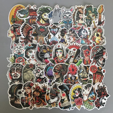 50pcs/lot Black&white Old School Tattoo Stickers For Laptop Suitcase Skateboard Little Vintage Style Waterproof Sunscreen Decals