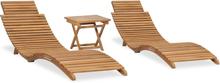 vidaXL foldbart loungesæt til haven 3 dele massivt teaktræ