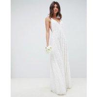 ASOS EDITION - Bröllopsklänning med smala axelband och paljetter - Vit