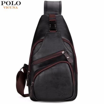 VICUNA POLO Extra Large Size Fashion Mens Shoulder Bag Burglarproof Snapper Black Leather Mens Messenger Bag Travel Chest Bag