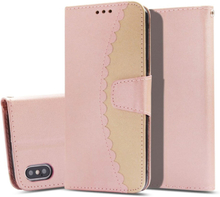 iPhone Xs Max beskyttelses deksel av syntetisk skinn med 2 fargers design - rose gull og gull