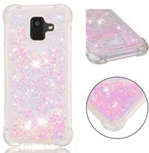 Samsung Galaxy A6 beskyttesles deksel av TPU med dynamisk glitter pulver med hjerte formet paljett - rosa