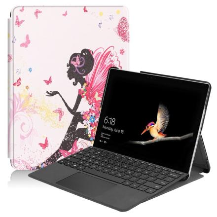 Microsoft Surface Go 10 beskyttelses deksel av syntetisk skinn med printet mønster - fe jente og sommerfugler