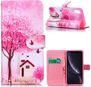iPhone Xr beskyttelses deksel av syntetisk skinn med printet mønster - blomster tre og hus