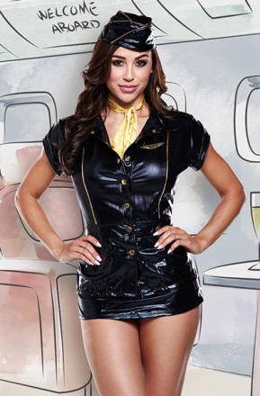 Baci Lingerie 4-Piece Black Stewardess Costume S/M