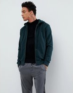 Fred Perry hooded zip thru sweat in green - Green