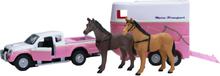 Leksaksbil med hästsläp 2 st hästar Mitsubishi Kids Globe