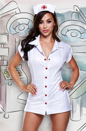 Baci Lingerie Nurses Coat With Red Details And Hat One Size