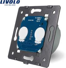 LIVOLO EU Standard, AC 220~250V The Base Of Wall Light Touch Screen Switch, 2Gang 1Way, VL-C702