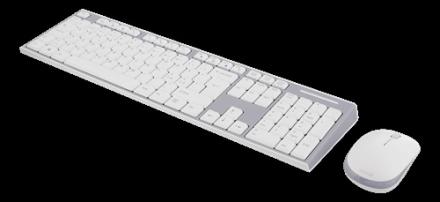 DELTACO trådlöst tangentbord och mus, USB nanomottagare, vit/grå