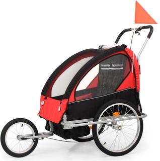 vidaXL 2-i-1 sykkelvogn & barnevogn svart og rød
