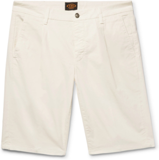 Pleated Stretch-cotton Twill Shorts - Off-white