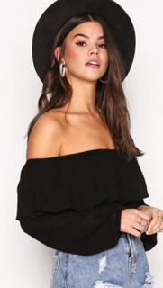 Glamorous Crinkle Off Shoulder Top Långärmade toppar Black