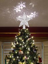 Weihnachtsbaum Topper Sternlichter 3D Top Licht Projektionslampe Weihnachtsfeier Dekoration Home Rotation Projektor