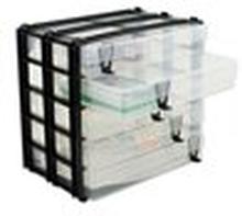 Skuffe-Blok med 5 plastik-bokse A4, kan stables
