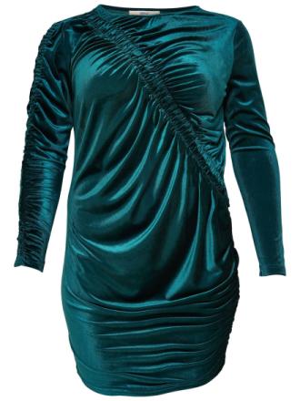 ONLY Curvy Velvet Long Sleeved Dress Women Green