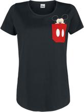 Mickey Mouse - Ansikt i lomme -T-skjorte - svart