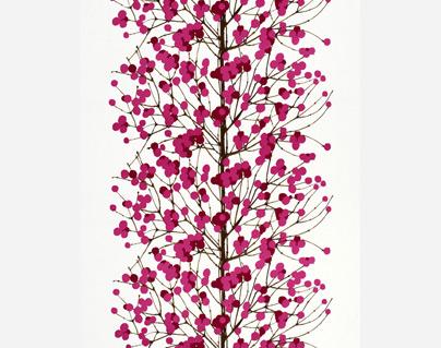 Lumimarja stoff hvit-rosa