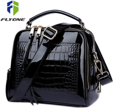 FLYONE Crossbody Bags for Women 2019 Women Handbag Crocodile Patent Leather Shopper Tote Shoulder Bag Women's Bag Bolsa Feminina