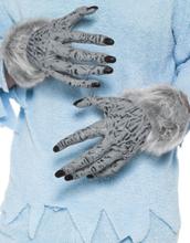 Grå Varulvshandskar i Latex med Fuskpäls