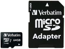 Verbatim Premium microSDHC Class 10 Hukommelseskort m. 64GB & Kamera Adaptor