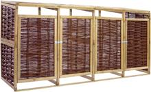vidaXL Skjul för 4 soptunnor furu och korgmaterial
