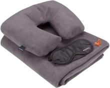 Perel rejsekomfortsæt i 4 dele grå og sort