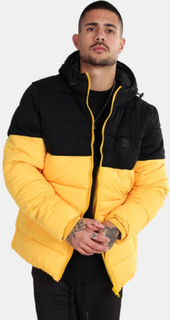 Urban Classics Hooded 2-Tone Puffer Jakke Chrome Yellow/Black