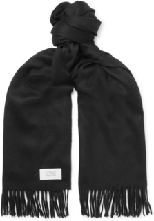 Fringed Wool And Cashmere-blend Scarf - Black