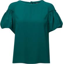Crepe Light Puff Sleeve Top Blouses Short-sleeved Grønn French Connection