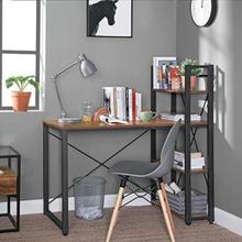 Computerbord, 120 cm skrivebord med opbevaringshylder til venstre eller højre